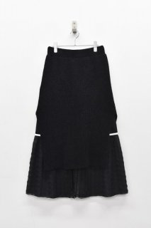 YUKI SHIMANE / Gingham Rib skirt - BLACK