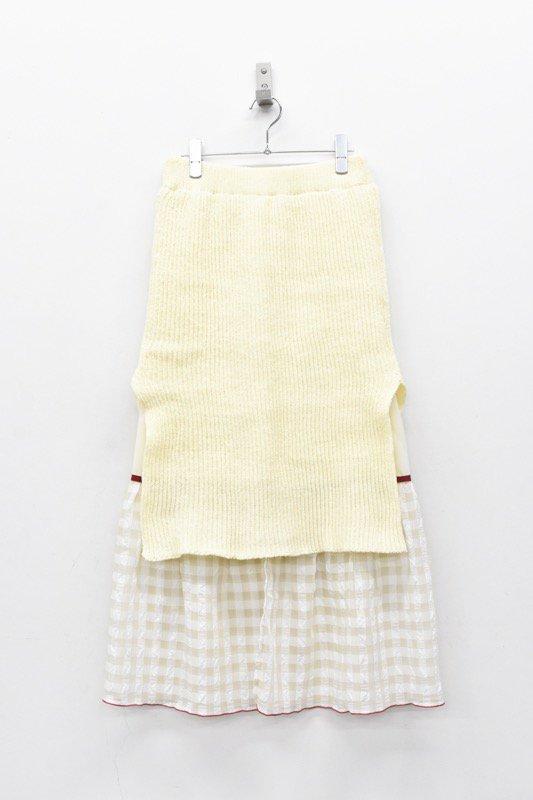 YUKI SHIMANE / Gingham Rib skirt - WHITE