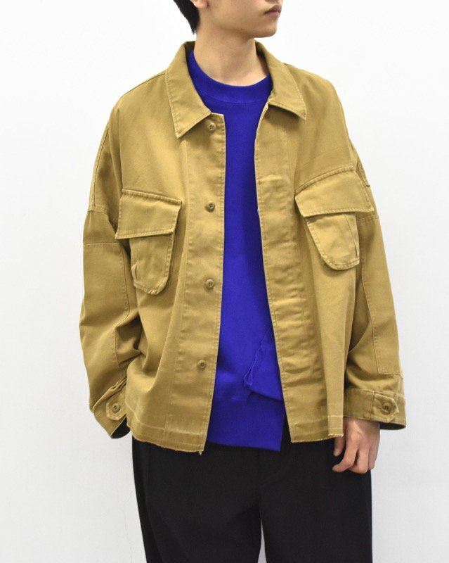 elephant TRIBAL fabrics / 8XL Cut Fatigue Shirt - BEIGE