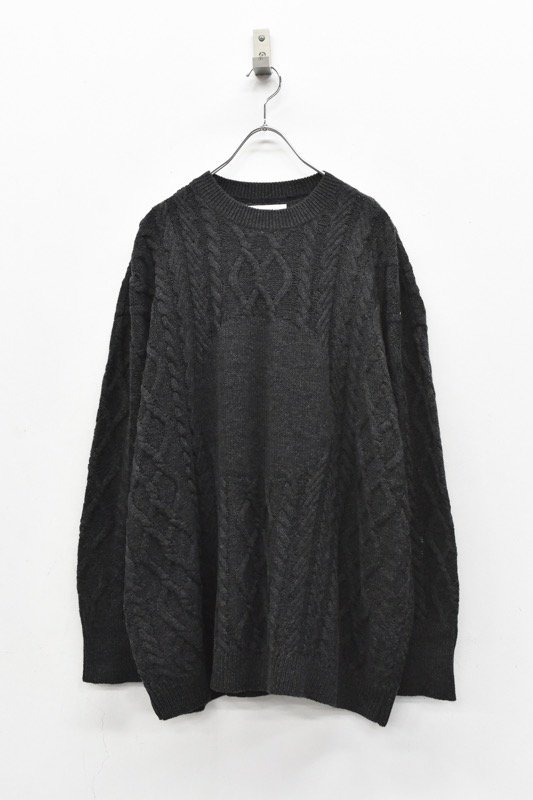 STORAMA / Big hole cable sweater - BLACK