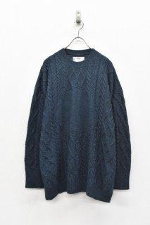 STORAMA / Big hole cable sweater - BLUE