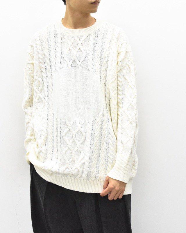 STORAMA / Big hole cable sweater - WHITE