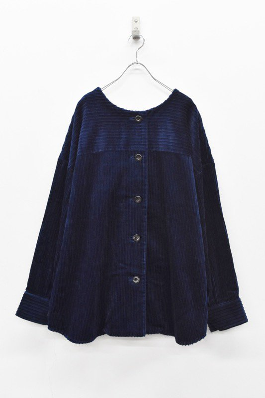 Natsumi Zama / C004 Collarless Short Coat - NAVY