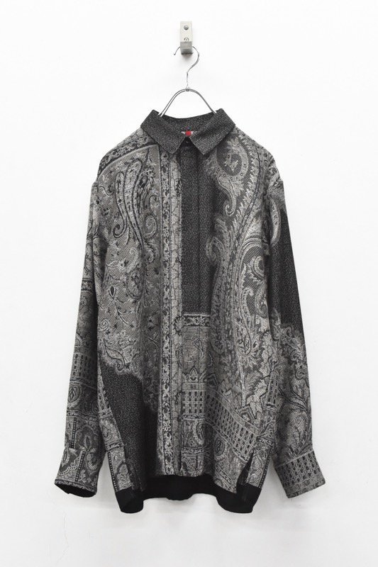 YANTOR / Tibetan Paisley Jacquard Wool Shirts - GREY