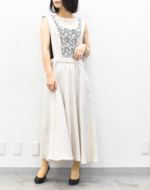 先行予約 YUKI SHIMANE / Linen apron dress - BROWN