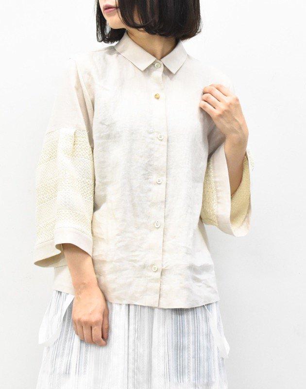 先行予約 YUKI SHIMANE / Wide sleeves Linen shirts - BEIGE