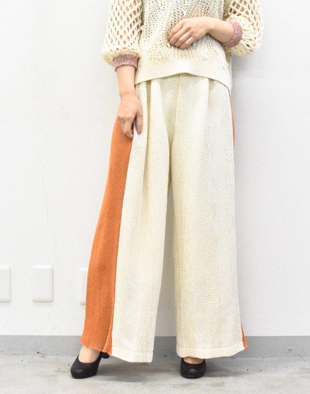 先行予約 YUKI SHIMANE / Side knit line Pants - ORANGE