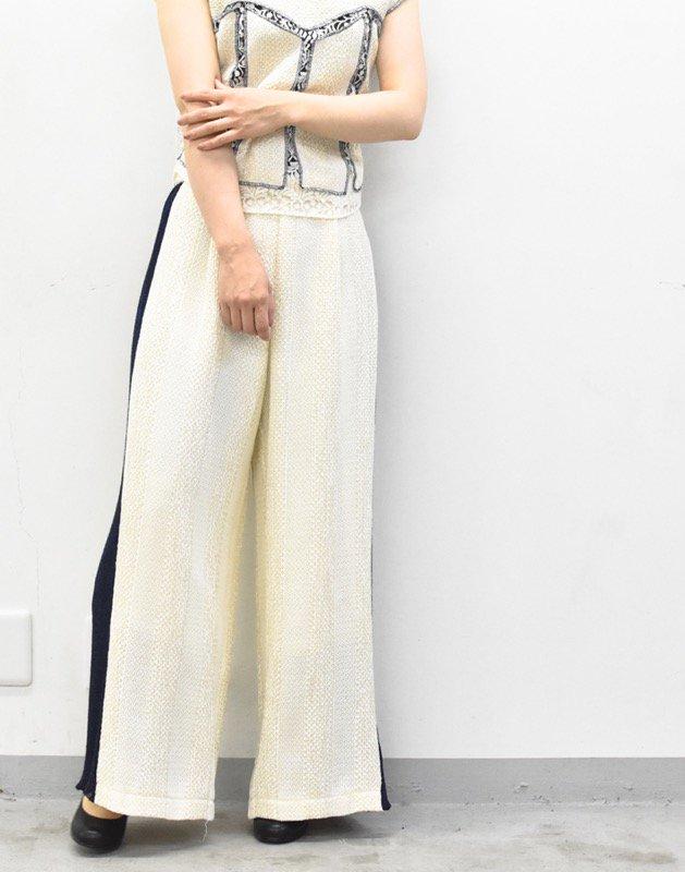 先行予約 YUKI SHIMANE / Side knit line Pants - NAVY