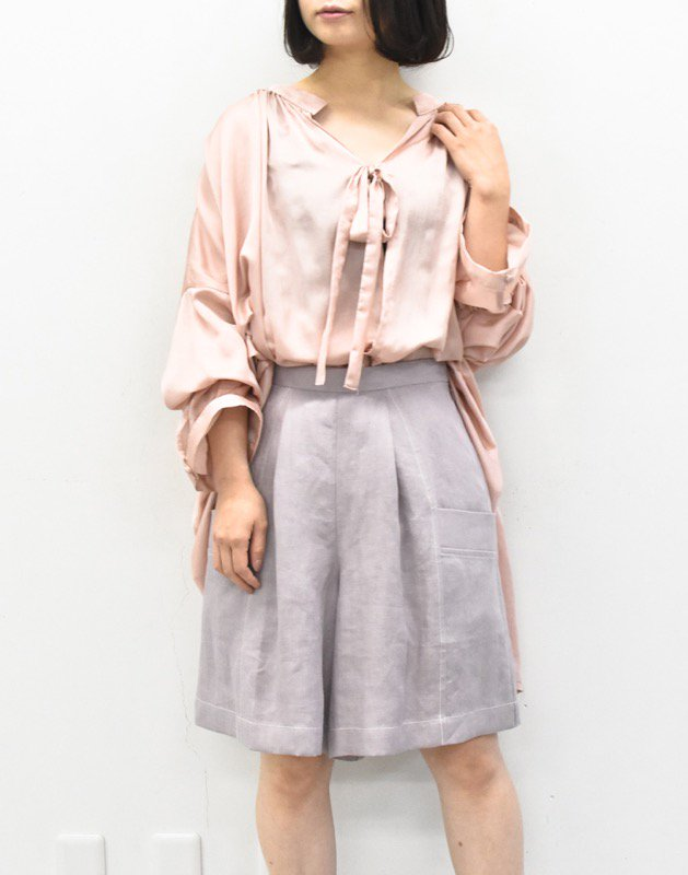 先行予約 YUKI SHIMANE / Herringbone Linen short pants - FUJI
