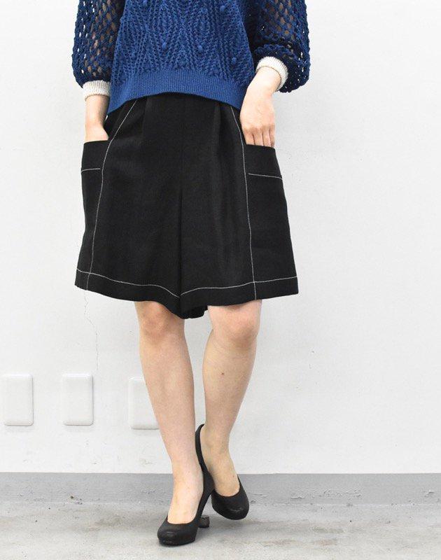 先行予約 YUKI SHIMANE / Herringbone Linen short pants -BLACK