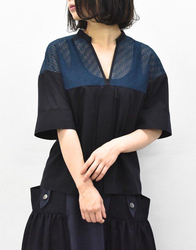 先行予約 YUKI SHIMANE / Harf Lace Skipper shirt - NAVY