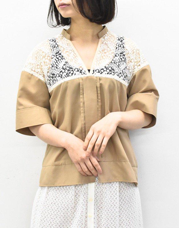 先行予約 YUKI SHIMANE / Harf Lace Skipper shirt - BROWN