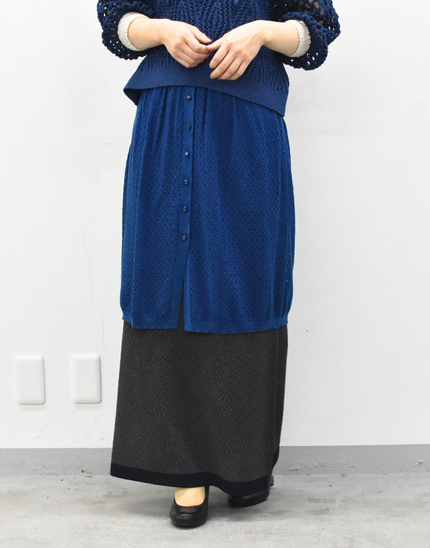 先行予約 YUKI SHIMANE / Double Lace kinit skirt - BLUE