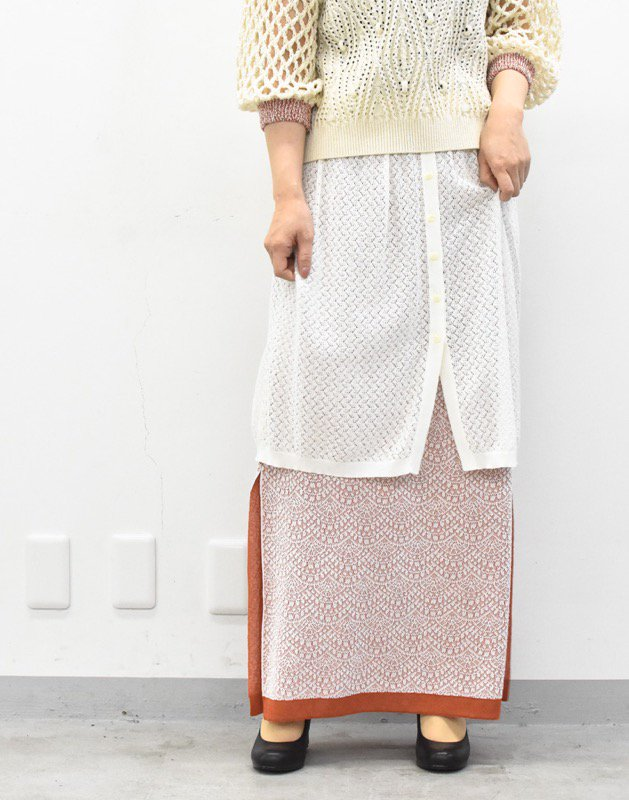 先行予約 YUKI SHIMANE / Double Lace kinit skirt - WHITE