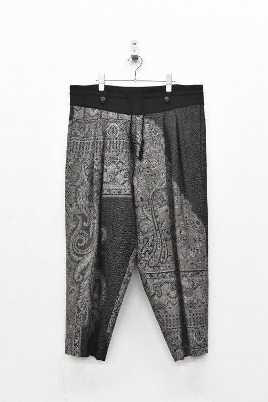 YANTOR / Tibetan Paisley Jacquard Wool 2tuck Fall Pants - GREY