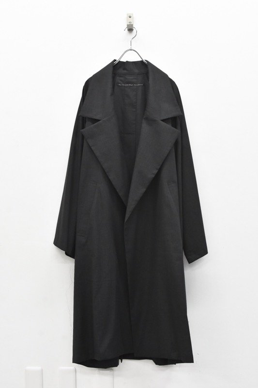 My Beautiful Landlet / COTTON LYOCEL&LINE CANVAS LONG COAT - BLACK