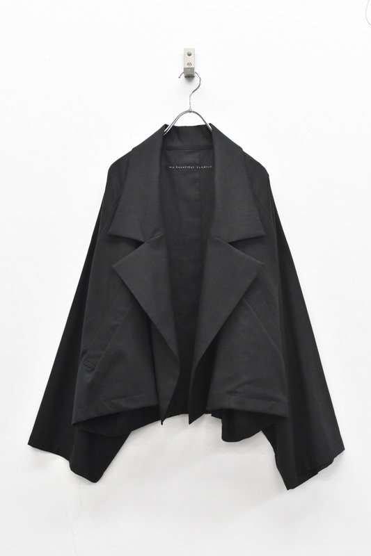 My Beautiful Landlet / COTTON LYOCEL&LINE CANVAS WIDE JACKET - BLACK