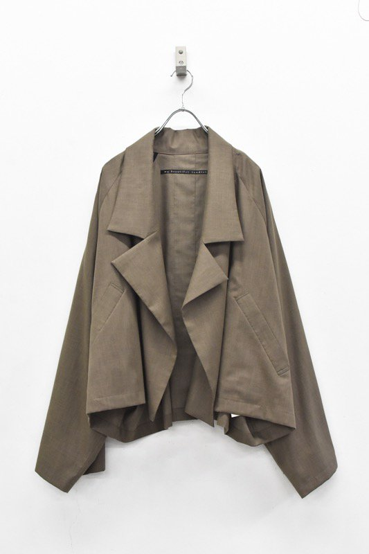 My Beautiful Landlet / COTTON LYOCEL&LINE CANVAS WIDE JACKET - BROWN