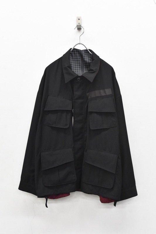 elephant TRIBAL fabrics / Reversible fatigue JKT - BLACK (ファインパターン柄)