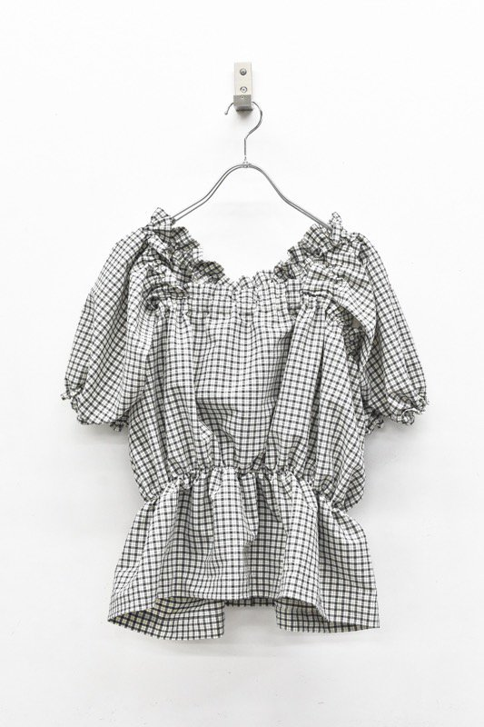 HOUGA / mary blouse - WHITE*BLACK