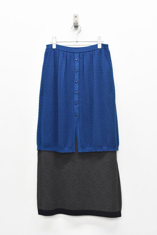 YUKI SHIMANE / Double Lace kinit skirt - BLUE