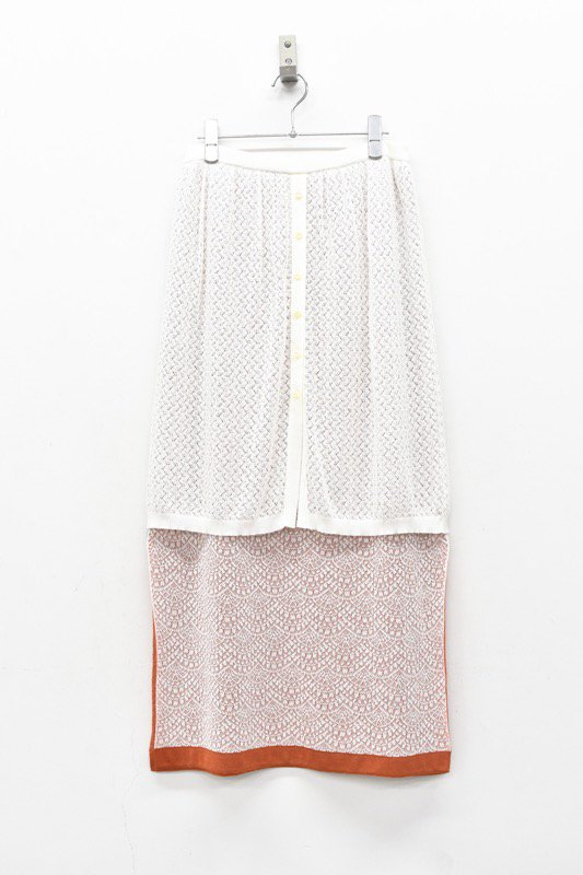 YUKI SHIMANE / Double Lace kinit skirt - WHITE