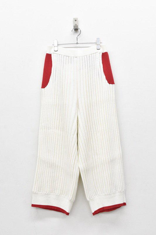 bedsidedrama / Pleats Color Knit Pants - WHITE