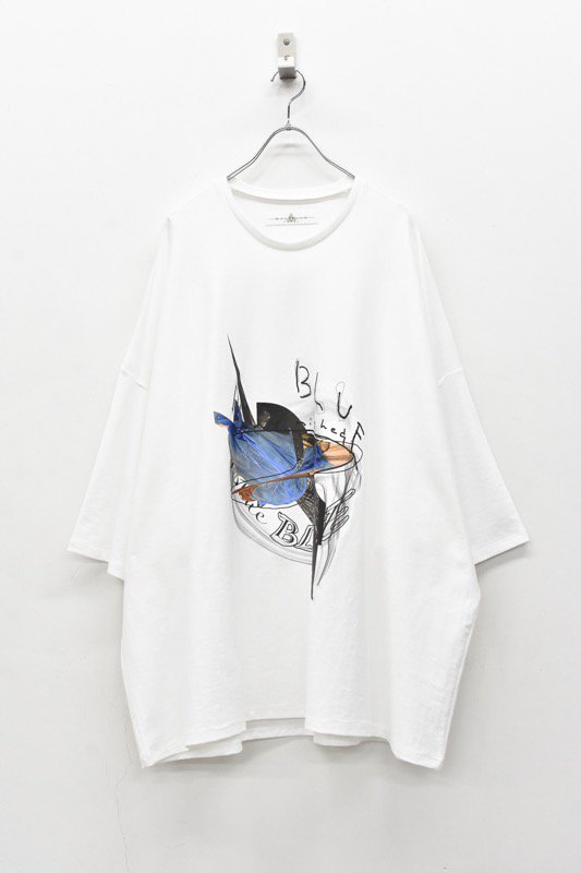 BALMUNG / プリントビッグTシャツ - unfinished blue 白