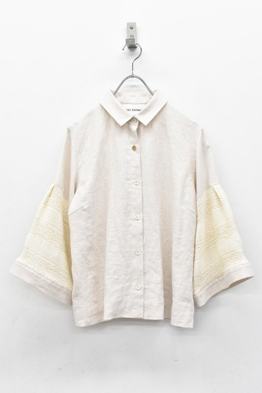 YUKI SHIMANE / Wide sleeves Linen shirts - BEIGE