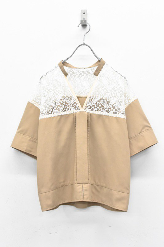 YUKI SHIMANE / Harf Lace Skipper shirt - BROWN