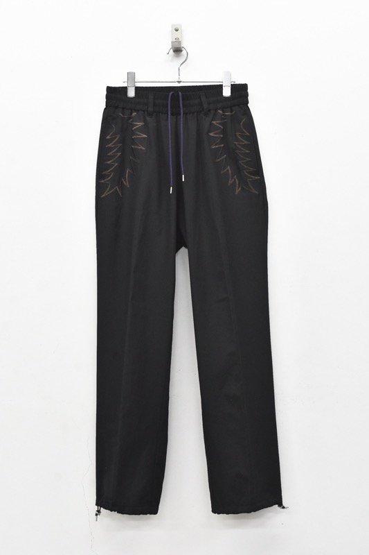 elephant TRIBAL fabrics / Palm leaf embroidery Easy PT - BLACK