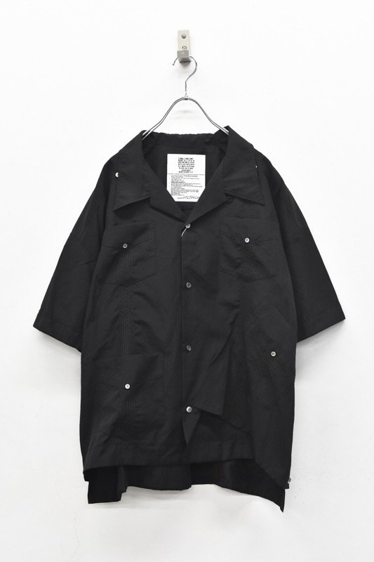 elephant TRIBAL fabrics / Out of alignment Cuban shirt - BLACK