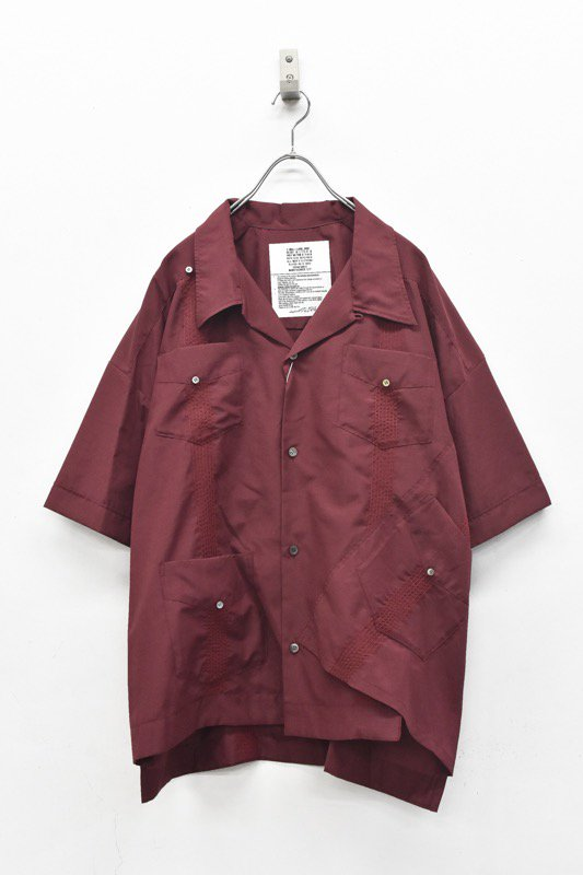 elephant TRIBAL fabrics / Out of alignment Cuban shirt - BORDEAUX