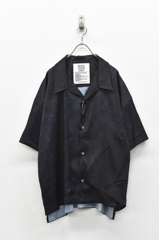 elephant TRIBAL fabrics / Out of alignment Resort shirt - BLACK