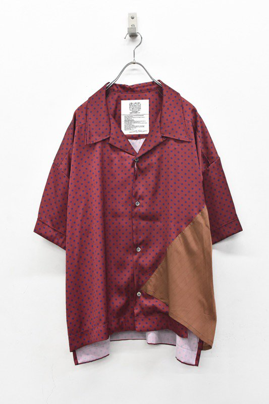 elephant TRIBAL fabrics / Out of alignment Resort shirt - BORDEAUX