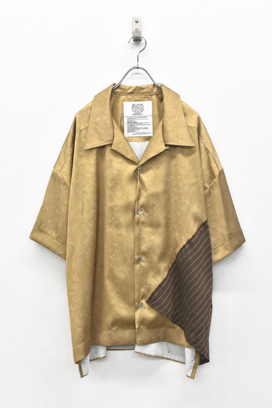 elephant TRIBAL fabrics / Out of alignment Resort shirt - BEIGE