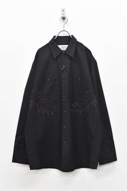 elephant TRIBAL fabrics / Palm leaf embroidery work shirt - BLACK