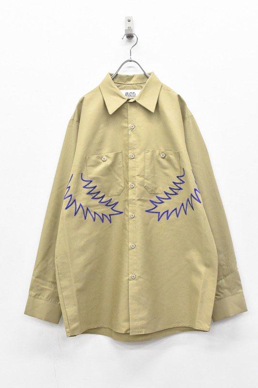 elephant TRIBAL fabrics / Palm leaf embroidery work shirt - BEIGE