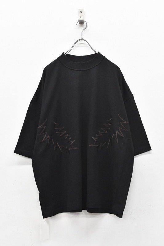 elephant TRIBAL fabrics / Palm leaf embroidery Inside Out Fat T - BLACK