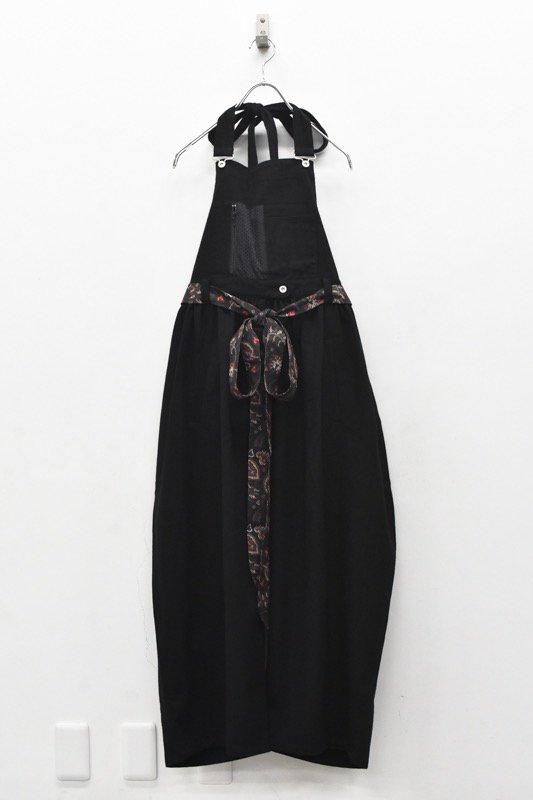 bedsidedrama / Ribbon Tie Salopette - BLACK