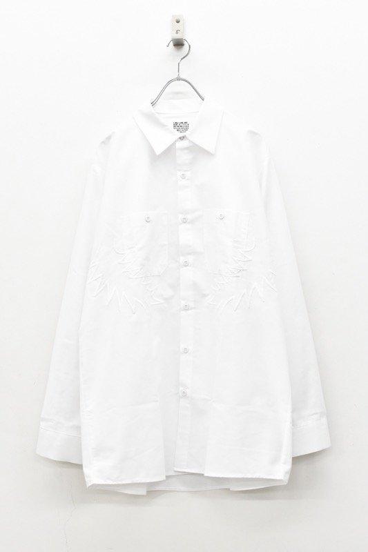 elephant TRIBAL fabrics / Palm leaf embroidery work shirt - WHITE