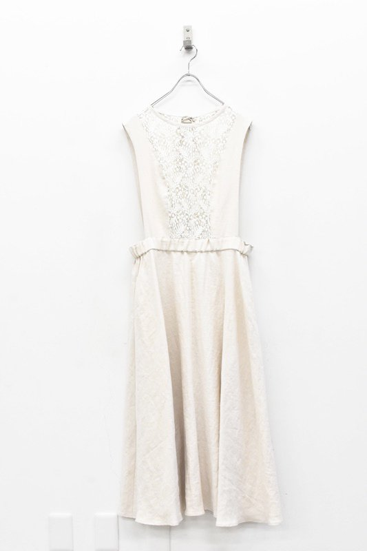 YUKI SHIMANE / Linen apron dress - WHITE