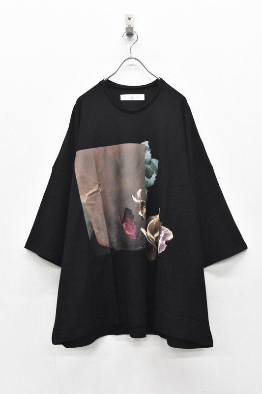 BALMUNG / プリントビッグTシャツ - はな 黒