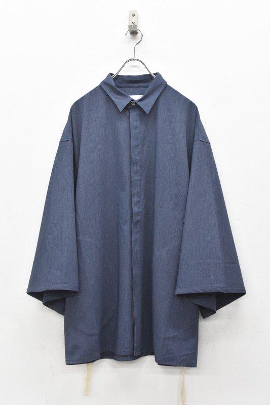 prasthana / long loop big sleeve shirt - STEEL BLUE