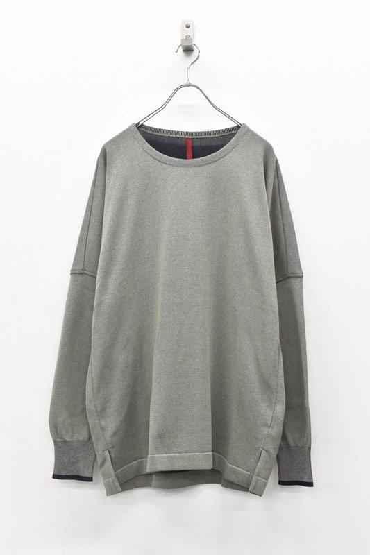 YANTOR / Plating Knit Dolman Pullover - GREENISH GRAY