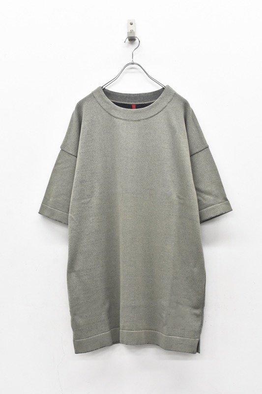 YANTOR / Plating Knit Light Wide Pullover - GREENISH GRAY
