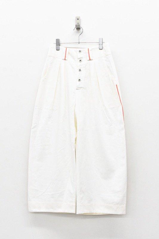 sneeuw / ラインボタンフライパンツ - WHITE