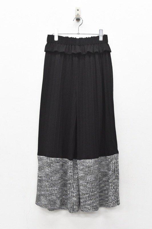 YUKI SHIMANE / Pleats Jacquard Pants - BLACK