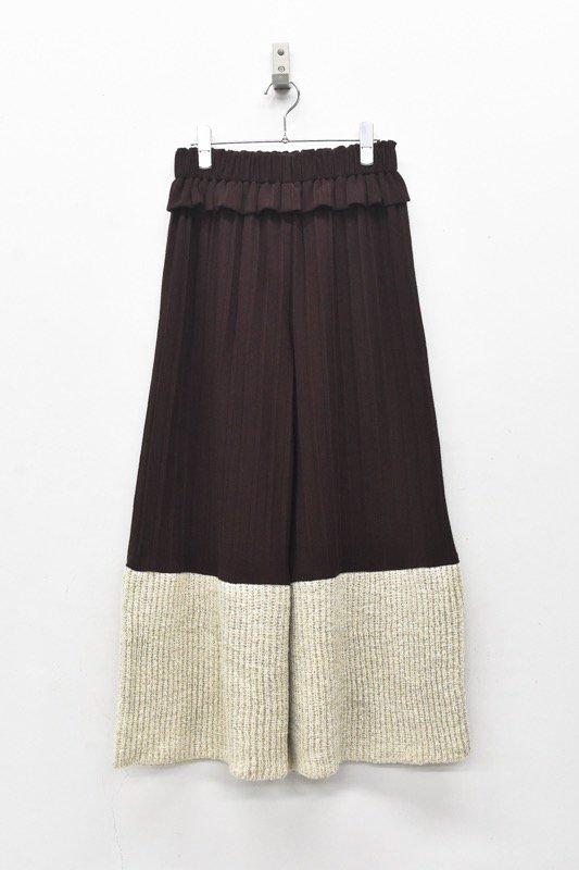 YUKI SHIMANE / Pleats Jacquard Pants - BROWN