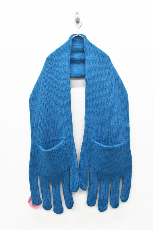 INFANONYMOUS / Hand Knit Scarf - TEAL BLUE